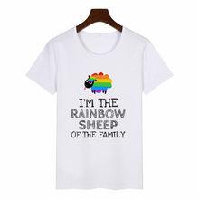 クラシック虹羊 Tシャツの男性と女性プライド Lgbt ゲイレズビアン虹プリント原宿カジュアル Tシャツユニセックスのカップル服(China)