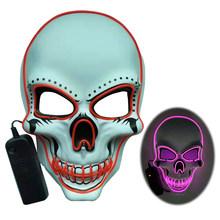 20 colori di Halloween Maschera LED DJ Del Partito della Luce Up Maschere Glow In Dark Spaventoso Mascherine di Travestimento Festival Del Cranio Mascara Luce maschere(China)