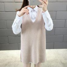 Medium lengte vest trui met vest en vest met V-hals Trui voor vrouwen losse wear in herfst en winter(China)