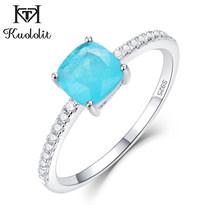Kuololit Paraiba ทัวร์มาลีนอัญมณีแหวนผู้หญิง Solid 925 Sterling Silver Emerald Tanzanite งานแต่งงาน(China)