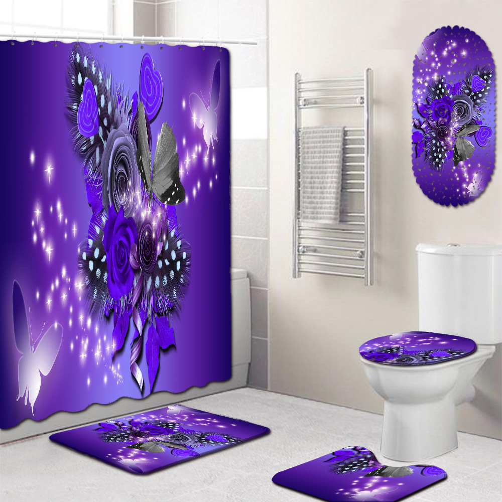 3D Print Bathroom Curtains Shower Set with Bath Floor Mat Pedestal Rug Toilet Lid Cover /& Waterproof Shower Curtain for Bathroom D/écor Colorful Parrot,S Enhome Bath Mat Set 4 Piece