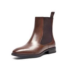 BeauToday Chelsea Stiefel Frauen Marke Neue Kalbsleder Echtes Leder Runde Kappe Mitte Der Wade Stiefel Herbst Winter Schuhe Handgemachte 03608(China)