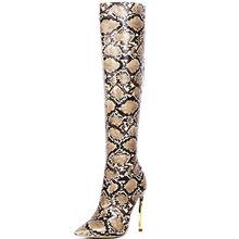 MStacchi Snake Skin Botines Mujer 2019 Herfst Winter Over De Knie Laarzen Sexy Dames Hoge Hak Pomp Vrouwen Wees Teen party Boot(China)
