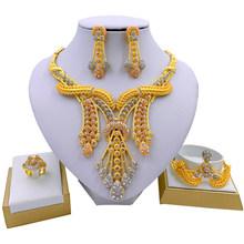 LIFFLY קובע גדול שרשרת קלאסי מים Drop צורת צמיד עגילי תכשיטי נשים חתונת סטים לכלה(China)
