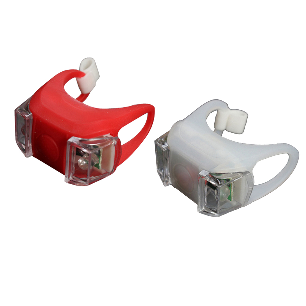 2x LED Bicycle Light Waterproof Front Rear, 3 Brightness Modes, for VTC Cycling Stroller Camping Red + White