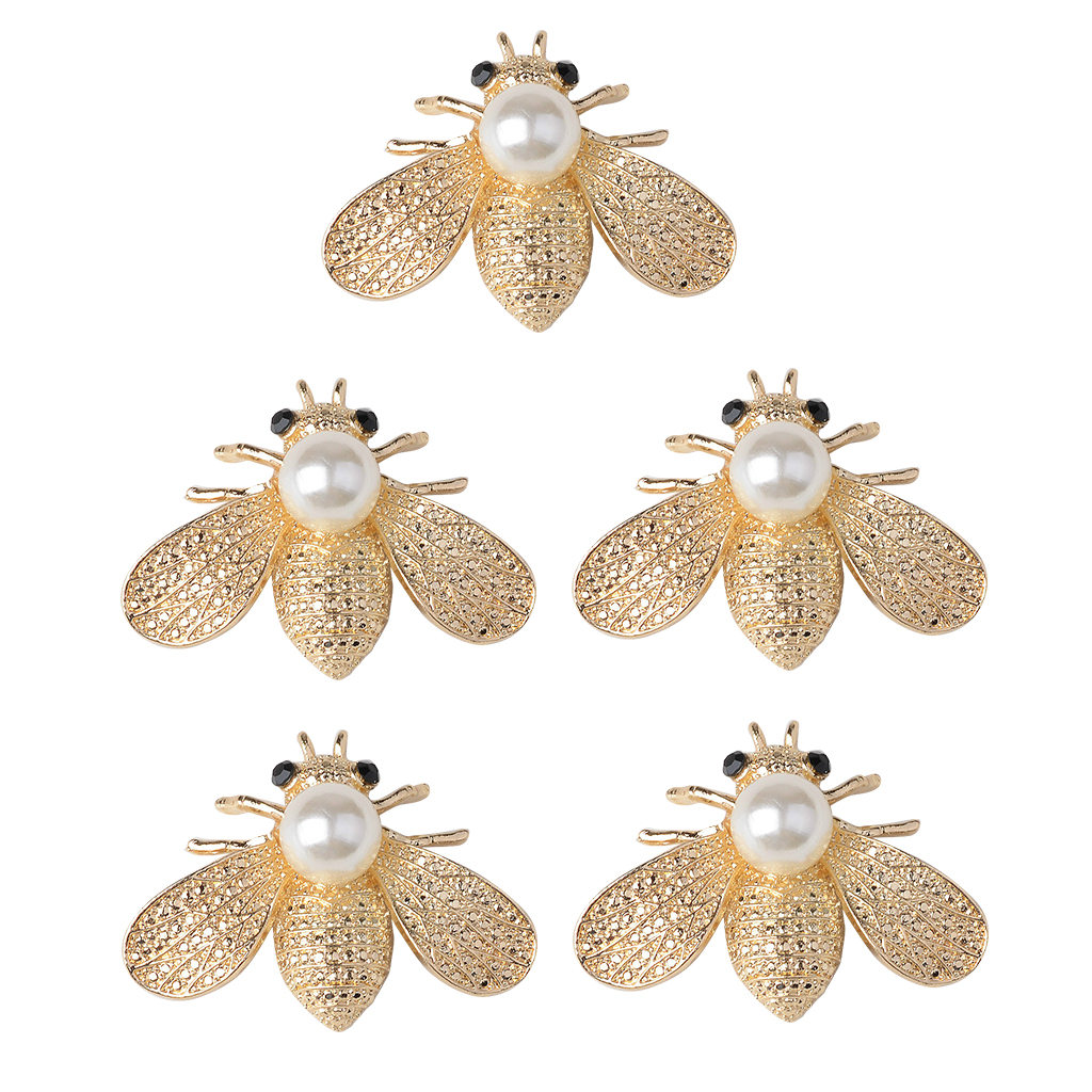 5 Pieces Bee Shape Alloy Crystal Pearl Flatback Buttons Scrapbooking Embellishment Jewelry Making Findings Gold 40mm