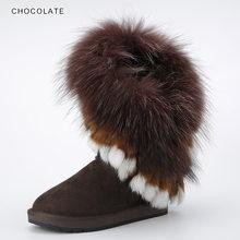 INOE Inek Süet Deri Doğal Tilki Kürk Moda Kadın Kışlık Botlar Yüksek Kaliteli Kar Botları Tasfiye Satışı Büyük Indirim(China)