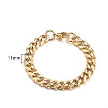 גברים של צמיד לרסן קובני קישור שרשרת נירוסטה Mens נשים צמידי צמיד זהב טון לא לדעוך 3mm כדי 11mm(China)