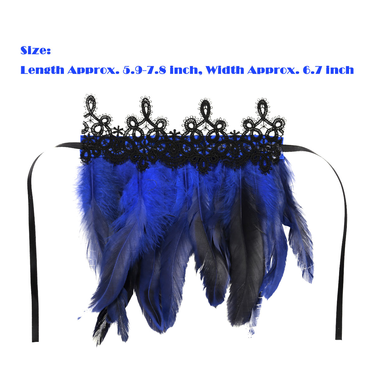 Details about  /US/_2Pcs Rooster Feather Wrist Cuffs Sleeve with Ribbon Ties Halloween Party Tool