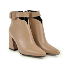 WETKISS Ankle Strap High Heels Frauen Stiefel Spitz Schuhe Zip Weibliche Booties Pu Schuhe Frau Winter 2020 Plus Größe 34-46(China)