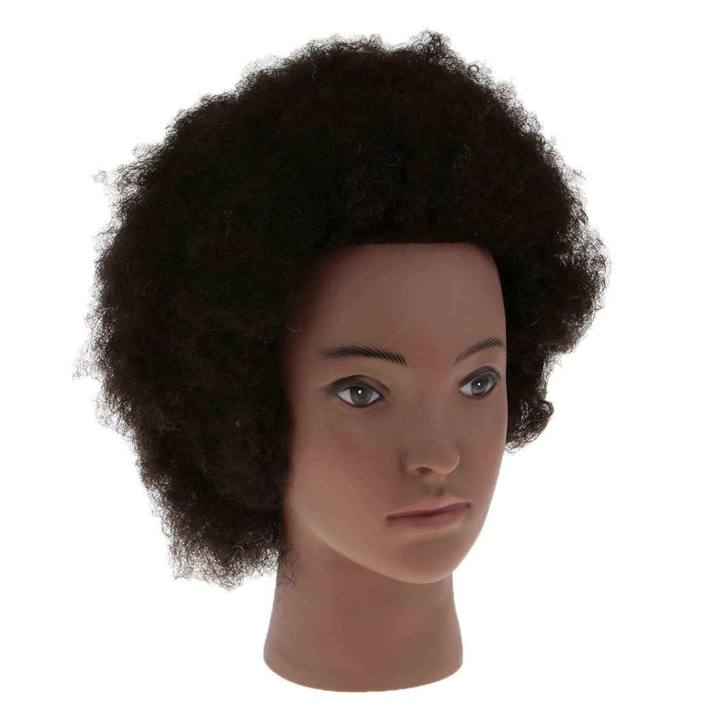 Cosmetology Afro Mannequin Head W/ Real Hair For Braiding Cutting Practice