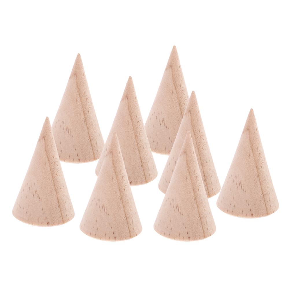 8 Pieces Plain Rustic Wood Cone Shape Jewelry Ring DIY Decoupage Handmade 5cm Display