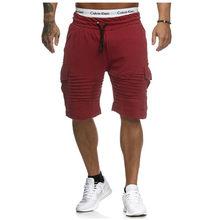Heren multi-pocket cargo, elastische taille en bil shorts, fitness plain casual sport shorts Merk zwart gestreepte shorts(China)