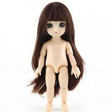 16cm 1pcs Meninas Vestir Bonecas Enviar UM par De Sapatos 13 Conjunta BJD Boneca Brinquedos Com 3D globo ocular Linda Princesa Corpo Nu(China)