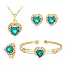 Parure de bijoux 1 ensemble Vintage Withe frais pendentif collier boucles d'oreilles Bracelet et bague pour femme parure bijoux femme(China)