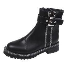 Moda Retro kemer toka siyah yarım çizmeler kadınlar için Punk stil motosiklet botları Biker su geçirmez kadın ayakkabı Martins botları(China)