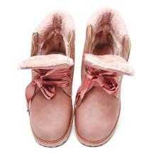 Fujin Nữ Mùa Đông Giày Nền Tảng Hồng Giày Bốt Nữ Phối Ren Mắt Cá Chân, Giày Boot Tròn Nữ Giày Nữ Mùa Đông Ủng mắt Cá Chân(China)