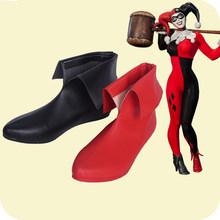 Batman Arkham Knight Cosplay Quinn stiefel Schlechte Mädchen Schuhe leder Stiefel Erwachsene Frauen Halloween Zubehör Nach Maß Freies Schiff(China)