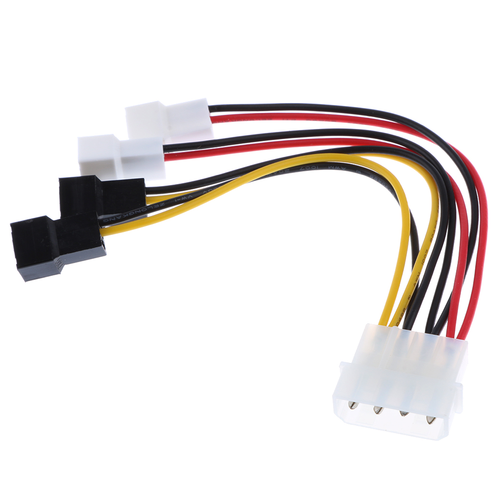4 Pin to 4 x 3 Pin Male Case Fan Power Connector Y-Splitter Cable