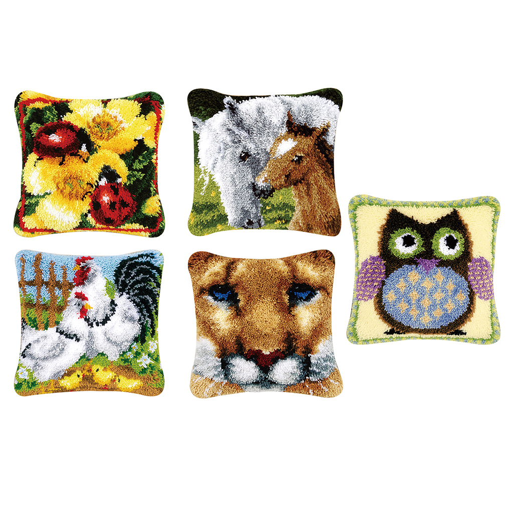 Latch Hook Kits Rug Making Kits DIY for Kids//Adults with Printed Canvas Pattern 17 X 17