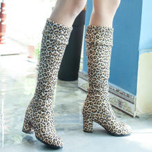 Mode Kniehohe Stiefel frauen Winter Stiefel Dicke High Heels Lange Stiefel Runde Rutsch Auf Frühjahr Herbst Schuhe Frau schwarz Weiß(China)
