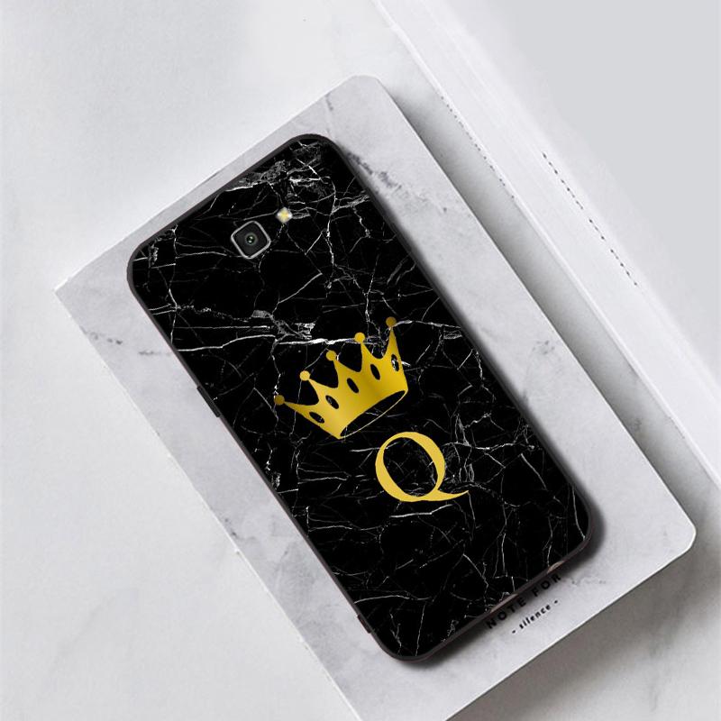 Custom name Letter Monogram Black Marble crown