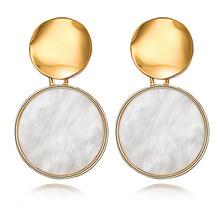 Boho Scrub Round Print Big Stud Earrings Elegant Retro Personality Geometric Pattern Circle Earings Bijoux Women Party Jewelry(China)