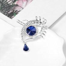 Vendita Diretta della fabbrica Blu Spilla Occhio Spille Con Rhinestones di Cristallo in oro o argento colore placcato(China)