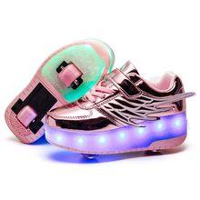 Children Kids Shoes Boys Girls Shoes Light Up heelys Two Wheels Luminous Sneakers USB Charging Led Light Roller Skate Shoes(China)