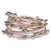 2019 New Fashion Wrap Women Leather Bracelet Multi-layer Bracelets Bohemia Charm Shining Rhinestone Statement Jewelry For Party(China)