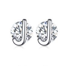 WOSTU 100% prawdziwe 925 srebro A-Z alfabet stadniny kolczyki prosta konstrukcja 26 litery kolczyki z cyrkonią dla kobiet biżuteria CQE739(China)