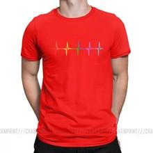 Rainbow Pulse Hearbeat LGBT Pria Kaos Gay Pride LGBTQ Lesbian Vintage Katun Lengan Pendek TEE O Leher T-shirt Dicetak pakaian(China)