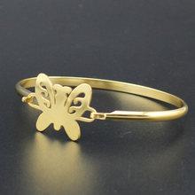 Hapiship ouro cor de aço inoxidável coração redondo amor pulseira para mulher presente jóias pulseras mujer brazaletes bx35(China)