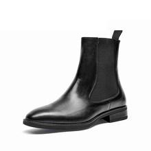 Beautoday Giày Chelsea Boot Nữ Thương Hiệu Mới Da Bê Da Thật Chính Hãng Da Mũi Tròn Giữa Bắp Chân Giày Mùa Thu Đông Giày Làm Bằng Tay 03608(China)