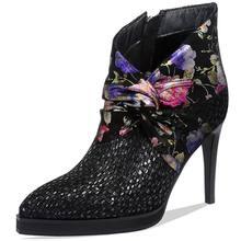 ALLBITEFO yüksek topuk kadın botları doğal hakiki deri basit stil yarım çizmeler rahat sivri burun Zarif moda botları(China)
