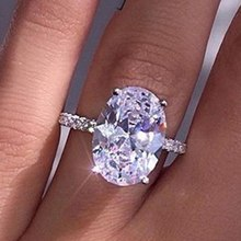 Big Oval Cut AAA Zircon Silver Color Ring For Women Fashion Micro Paved CZ Crystal Wedding Engagement Party Jewelry Female Rings(China)