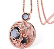 BYSPT Collier Femme długe szare naszyjniki z kryształem i wisiorki dla kobiet okrągły komunikat naszyjnik Maxi Colar Chain biżuteria(China)