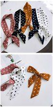 DHL 1000pcs แฟชั่น Polka Dot ดอกไม้ซาติน Neckerchief ผู้หญิงหวานหัวคอผ้าไหม Band กระเป๋า Tie สายรัดข้อมือห่(China)