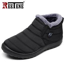 REETENE Pelz Männer Stiefel Männer Winter Schuhe Einfarbig Schnee Stiefel Plüsch Antiskid Unten Warm Halten Wasserdichte Ski Stiefel Größe 37-46(China)