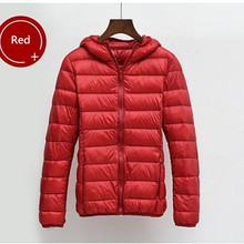 超軽量 8XL プラスサイズ薄型ダウンジャケット女性 2019 秋冬スリムフードウォームホワイトダックダウンコート女性の上着(China)