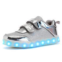 גודל 25-37 USB טעינת סל Led ילדי נעליים עם אור עד ילדים מזדמנים בנים ובנות סניקרס הזוהר זוהר נעל(China)