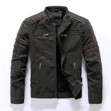 Pria Fashion PU Kulit Jaket Mantel Pria Musim Gugur Kembali Tengkorak Bordir Motor Tiruan Kulit Jaket Tahan Dr Pria Kerah Berdiri(China)