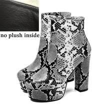 ALLBITEFO seksi yüksek topuklu kadın çizmeler yılan derisi yüksek topuklu kadın ayakkabıları yarım çizmeler kadınlar için martin çizmeler gece kulübü ayakkabı(China)