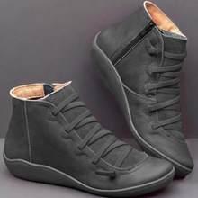 Phụ Nữ Retro Phẳng Mắt Cá Chân Giày Nữ Đế Mềm Không Trượt Móc Giày Nữ Chắc Chắn Giày Bốt Nữ Móc & Vòng Lặp người Phụ Nữ Giày(China)