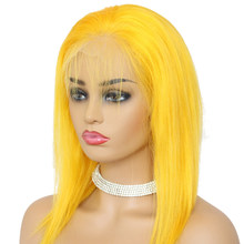 Rot Farbe 13x6 Kurze Spitze Front Menschliches Haar Perücken 150% Dichte Brasilianische Remy Menschenhaar Gerade Bob Cut perücke Pre-Gezupft Haaransatz(China)