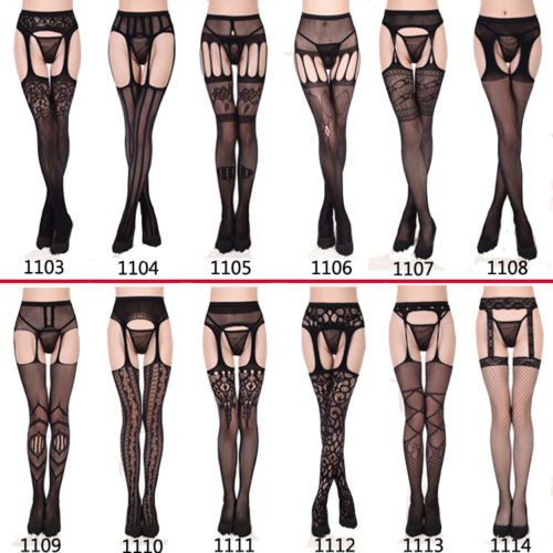 Sexy-Black-Fishnet-Jacquard-Stockings-Pantyhose-Tights-Adult-Women-Plus-Size