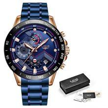 LIGE 2019 nouvelle mode hommes montres avec acier inoxydable haut marque de luxe sport chronographe Quartz montre hommes Relogio Masculino(China)