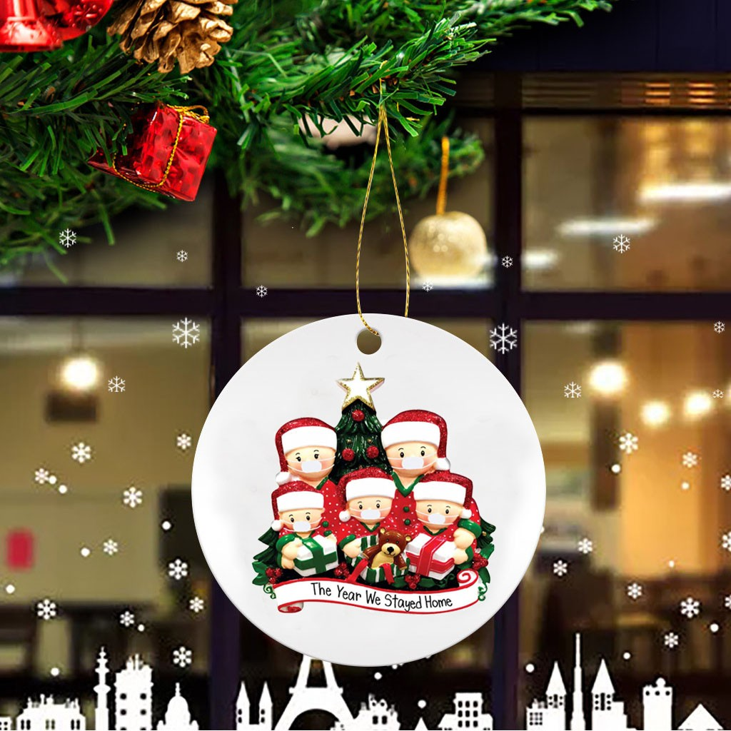 Xmas Tree Ornaments 2020 Quarantine Christmas Party Hanging Holiday Decorations Survived Family Christmas Ornament Family DIY Handwritten Name Christmas Tree Hanging Pendant 1pcs, Family of 1