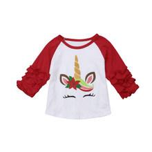 คริสต์มาสเด็กวัยหัดเดินเด็กสาวยูนิคอร์น Ruffle เสื้อแขนยาวเสื้อเสื้อผ้าคริสต์มาส Xmas เสื้อผู้ห...(China)