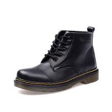 JACKSHIBO yarım çizmeler kadınlar için hakiki deri bayan botları deri veya kürk astar deri ayakkabı kadınlar Chaussures Martin çizmeler()